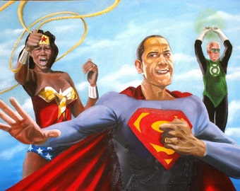 Obama and the Justice League Joe Biden as Green Lantern 8x10 inch Glossy Paper Print
