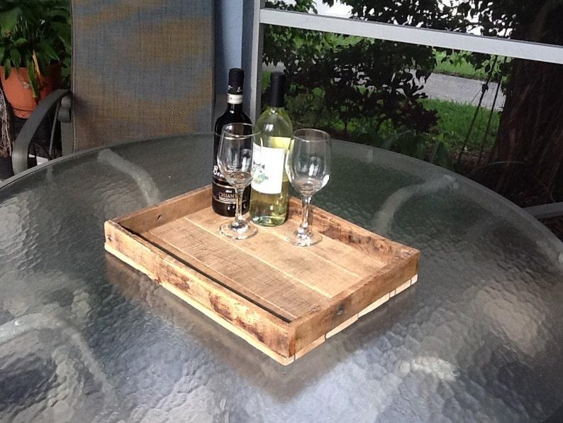 Wood tray...reclaimed pallet wood. Ottoman tray   Etsy
