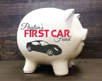 Kids White Ceramic Piggy Bank With Name First Car Fund Birthday Gift For Baby Boy 16th Son Personalized 5