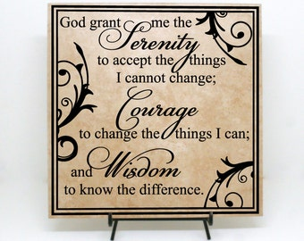 """Serenity Prayer Sign """"God grand me the serenity to accept"""" - Serenity Saying, God grant me sign, Spiritual Sign, Serenity Courage Wisdom"""