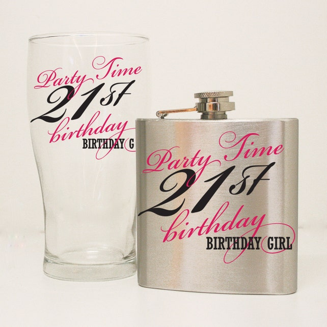 21st Birthday Flask Gift Set Glass Girls Custom