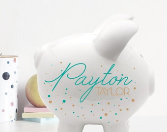 Piggy Bank with Name, Personalized White Ceramic Piggy bank with Polka Dots