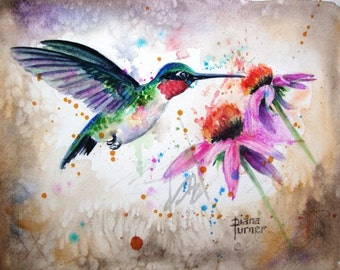 Ruby-throated Watercolor Hummingbird, Original Watercolor Painting Print Watercolor Original Hummingbird Painting wall decor 8 x 10