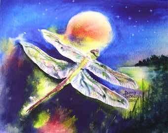 Dragonfly Watercolor painting Limited Edition Giclee Print  Watercolor Dragonfly painting Dragonfly painting art Wall Decor