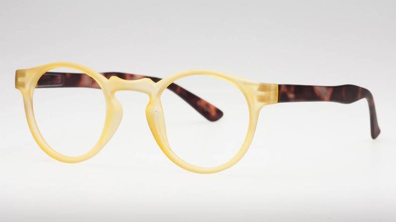 5d423535cd17 Yellow Reading Glasses Pantos Glasses Plano Eyeglasses