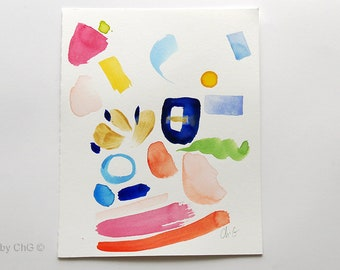 Original abstract painting, bright colors, free forms, Minimalist painting, contemporary abstract watercolor