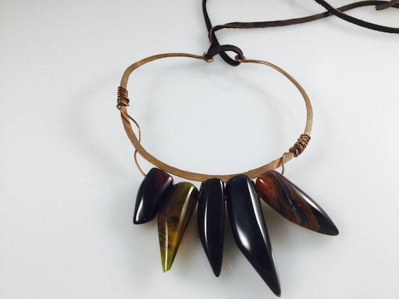 Carnelian spike necklace