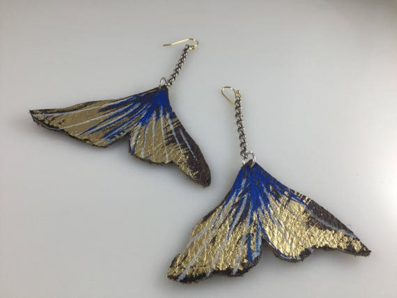 Up cycled handpainted leather ginko earrings