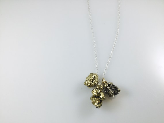 Pyrite cluster necklace