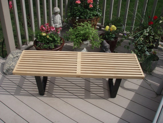 Fine A George Nelson Inspired Slat Bench Bench Is Hand Crafted Inhard Maple Theyellowbook Wood Chair Design Ideas Theyellowbookinfo