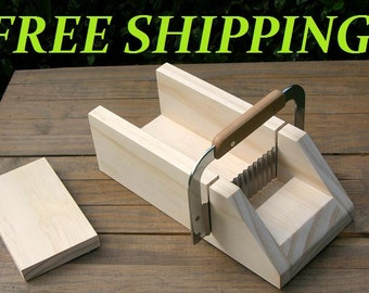 Soap Cutter Wavy / Krinkle Bars - Wooden Miter Box w/ Knife - Log / Loaf style - cut 1 or 1.25 inch **Free Shipping**