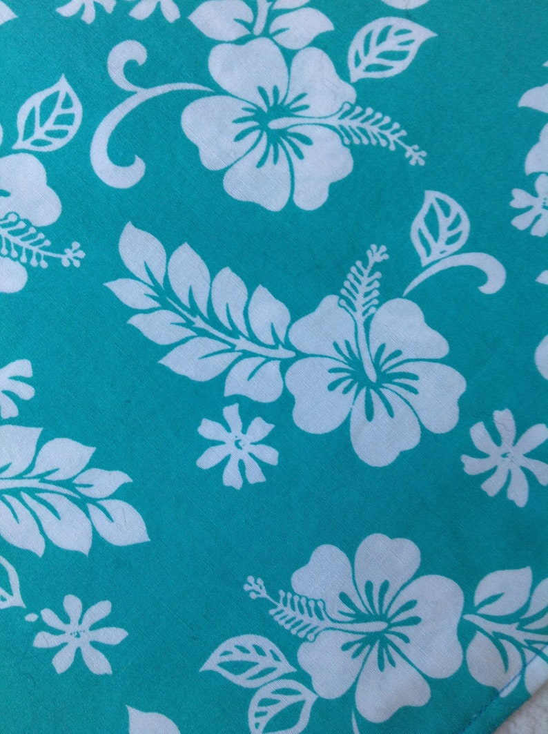 Turquoise Hawaiian Floral Pattern Fursuit Bandana Etsy