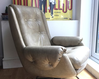 Vintage Beige Faux Leather Swivel Chair,Retro,Mid Century Modern 1960s 1970s