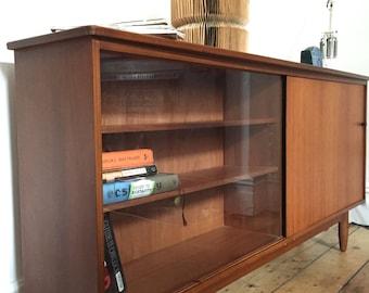 Retro Wood Glass Bookcase / Storage Mid Century Design 1960s 1970s Eames Era