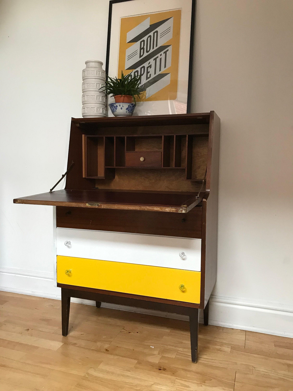 Bureau Retro Design.Upcycled Bureau Chest Of Drawers Teak Retro Vintage Mid Centurychest Of Teak Veneer Drawers 1970s
