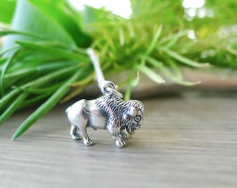 Buffalo Necklace, Bison Necklace, Sterling Silver, Little Buffalo, Little Bison, Life on the Prairies, Prairie Life, Buffalo Jewelry, Bison