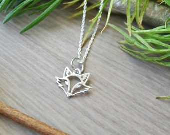 Fox Jewelry Fox Necklace Mystical Clay Fox Pendant Hand-Sculpted Fox Pendant Aqua Chalcedony Jewelry