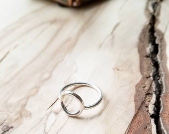 Silver Circle Ring.Open Hoop Ring.Double Circles Ring.Tiny Silver Ring.Modern Ring.