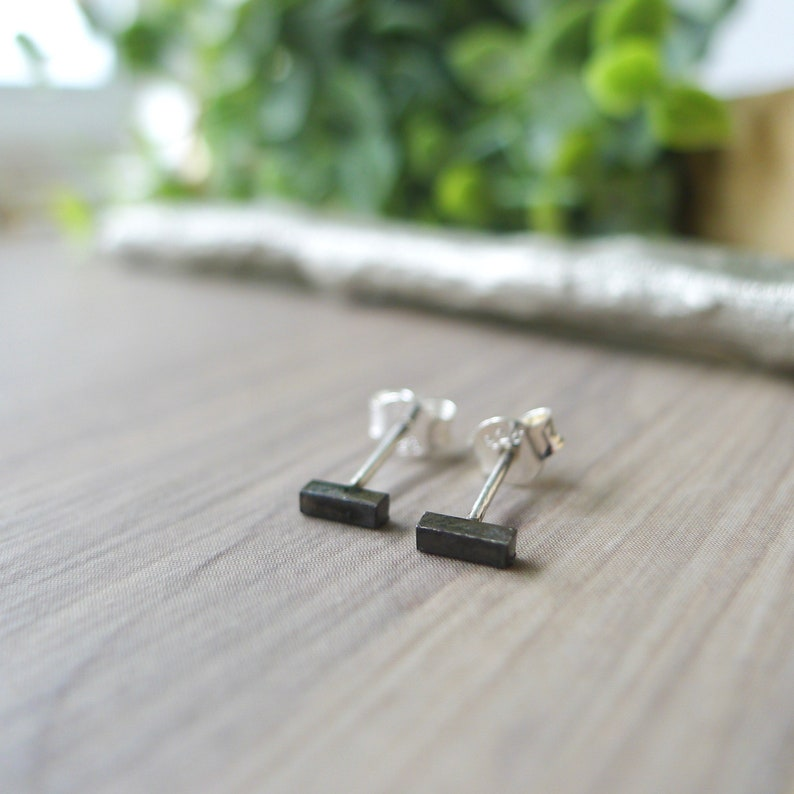 Stud Earrings Modern Studs Black Earrings Minimalist Studs Sterling Silver Small Bar Studs Plain Studs Black Studs Simple Studs