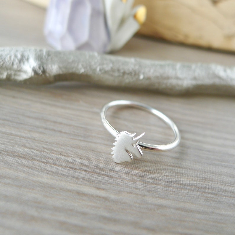 Unicorn Ring Gift for Girls Unicorn Jewelry Fairytale Silver Unicorn Modern Unicorn Sterling Silver Mythical Creatures Stacking Ring