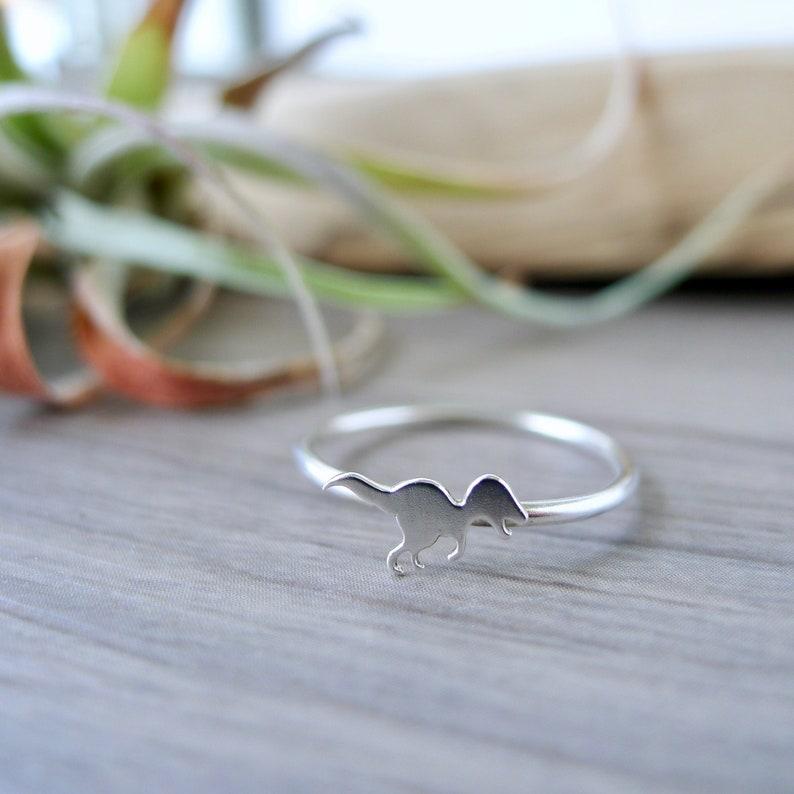 Dinosaur Jewelry Sterling Silver Tyrannosaurus Ring Tyrannosaurus Rex T Rex Ring Prehistoric Stacking Ring Dinosaur Ring Size 8