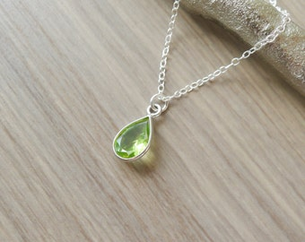 Sterling Silver Peridot Necklace, Teardrop Necklace, Genuine Peridot, Simple Necklace, Simple Jewelry, August Birthstone, August Jewelry
