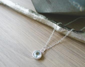 Blue Topaz Necklace, Sterling Silver, December Necklace, December Birthstone, Blue Topaz Jewelry, Faint Blue, Simple Gemstone, Minimalist