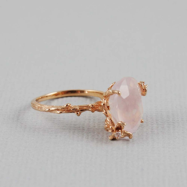 Rose Quartz Rose Gold Ring Rose Quartz Ring CZ Ring image 0
