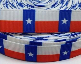 """7/8"""" Texas Flag Grosgrain Ribbon"""