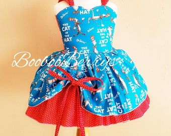 f42690e9 cat in the hat dress, dr seuss dress, boutique dress, cat in the hat  birthday outfit, first birthday