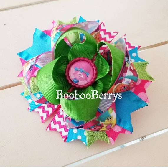 Trolls Themed Boutique Hair Bow On Alligator Clip Stacked Hair Bow