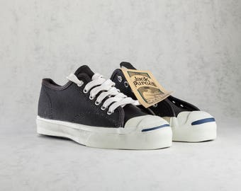 Coverse Jack Purcell vintage unisex black canvas sneakers made in USA. Mint condition. Size US mens 4,5, womens 5,5, EU 36, 23 cm.
