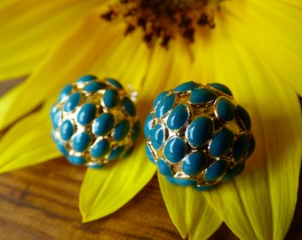 Caribbean Blue Enameled Earrings - Adorable and Chic - Petite - Post Backs with Teal Cabachons - Summertime Love - No Damages - Sweet