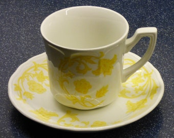 Royal Staffordshire Cup and Saucer - Windsong - Ironstone - J & G Meakin - England - Small Chip on Cup - Clean - Collectible - Yellow White