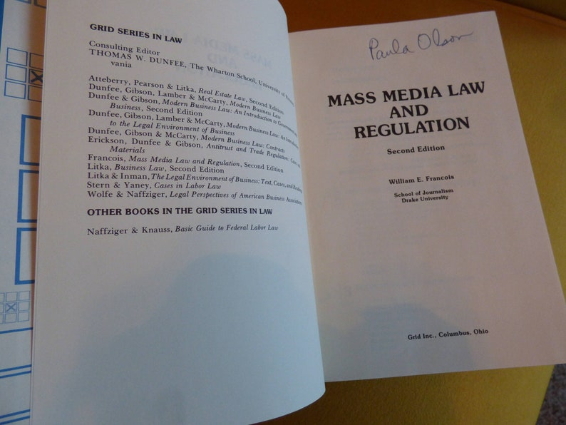 Mass Media Law and Regulation - 1978 - 2nd Edition - William E  Francois -  Drake U  - Hardcover Textbook - Some Markings - Clean Overall