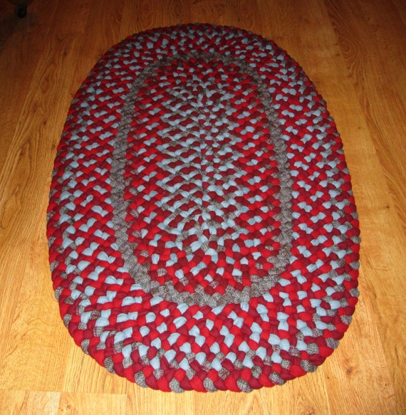 Used Oval Braided Rugs: Hand Braided Area Rug Recycled And New Wool 23 X