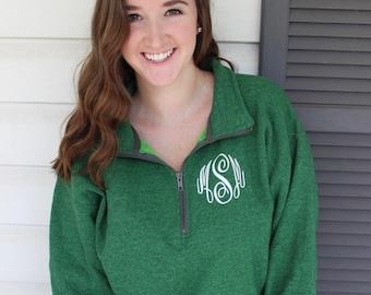Monogrammed Quarter Zip Cadet Collar Pullover Sweatshirt - Quarter Zip Sweatshirt - Monogrammed Sweatshirt -Personalized Pullover Sweatshirt