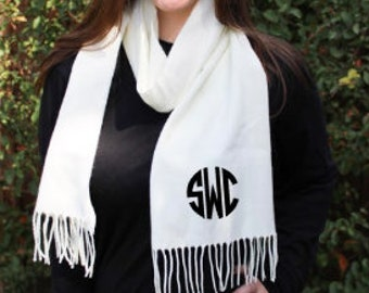 Monogrammed Cashmere Feel Scarf - Monogrammed Fringe Scarf - Bridesmaid Gift Idea - Personalized Scarf - Monogram Outerwear - Monogram Gifts