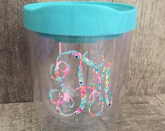 Monogrammed Lilly Pulitzer Inspired 10 oz Double Wall Acrylic Tumbler