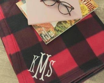 Monogrammed Plaid Fleece Blanket