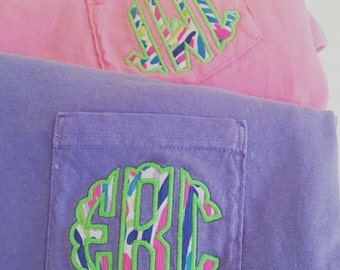 Monogrammed Lilly Pulitzer Appliqué Short Sleeve Comfort Colors Pocket T-shirt