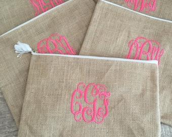 Monogrammed Burlap Cosmetic Bag