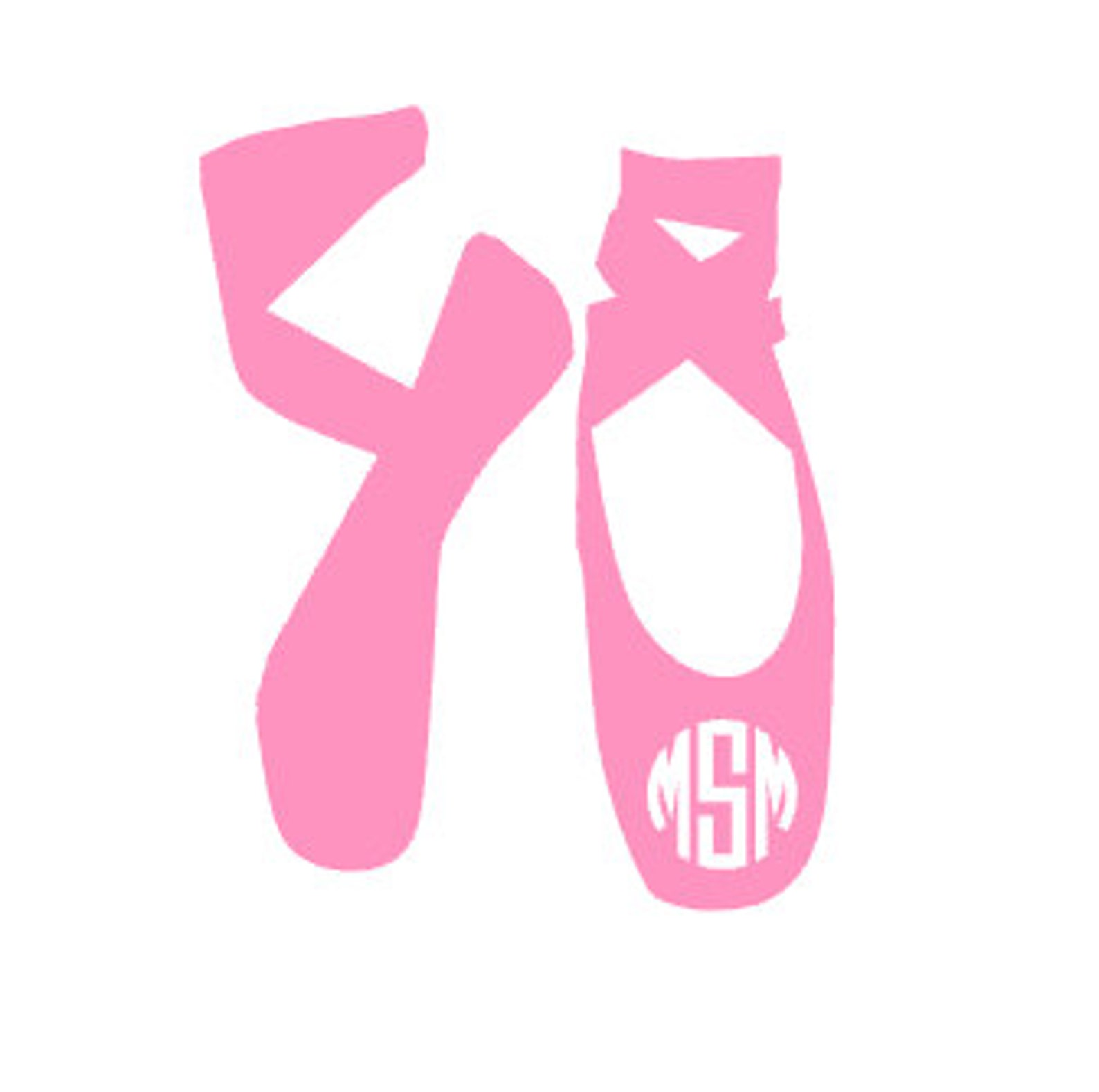 monogrammed ballet shoes vinyl decal - monogrammed vinyl decal sticker - tumbler monogram decal - dancer feet monogram decal -mo