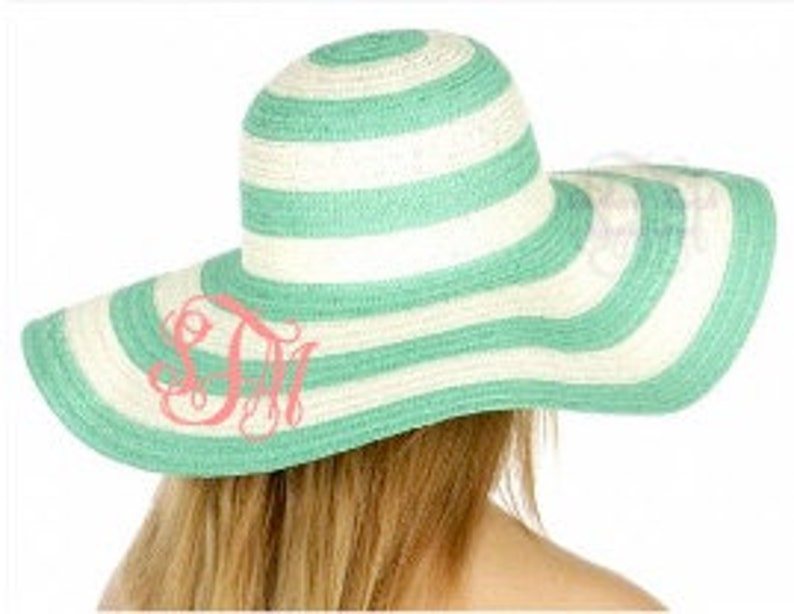 cd032deae2ff14 Monogrammed Striped Floppy Hat Bridesmaid Gift | Etsy