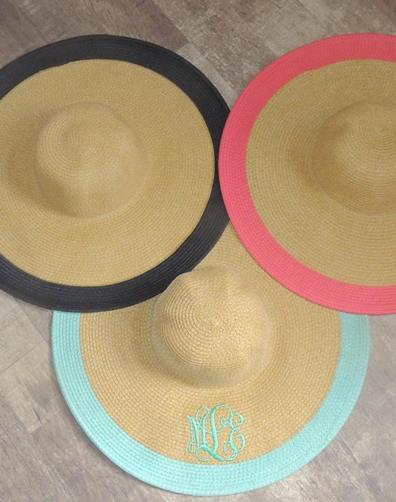 0cfde57e1a083f Monogrammed Wide Outline Floppy Hat Bridesmaid Gift Ideas | Etsy