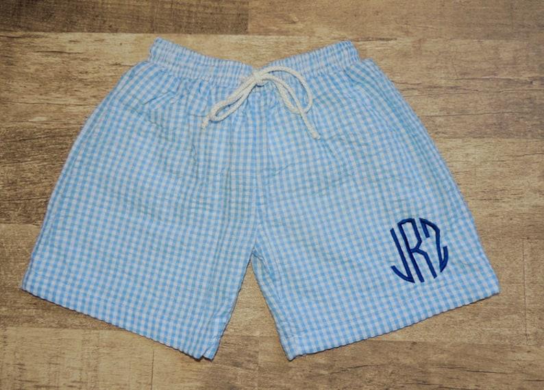 f7f64607186b2 Monogrammed Seersucker Swim Trunks Boy's Swim Trunks | Etsy