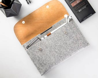 """Leather iPad Air 10.9""""/ Pro 11""""/ iPad 9.7"""" case/ iPad 10.2"""" case Apple pencil case iPad leather felt case fits with apple keyboard or cover"""