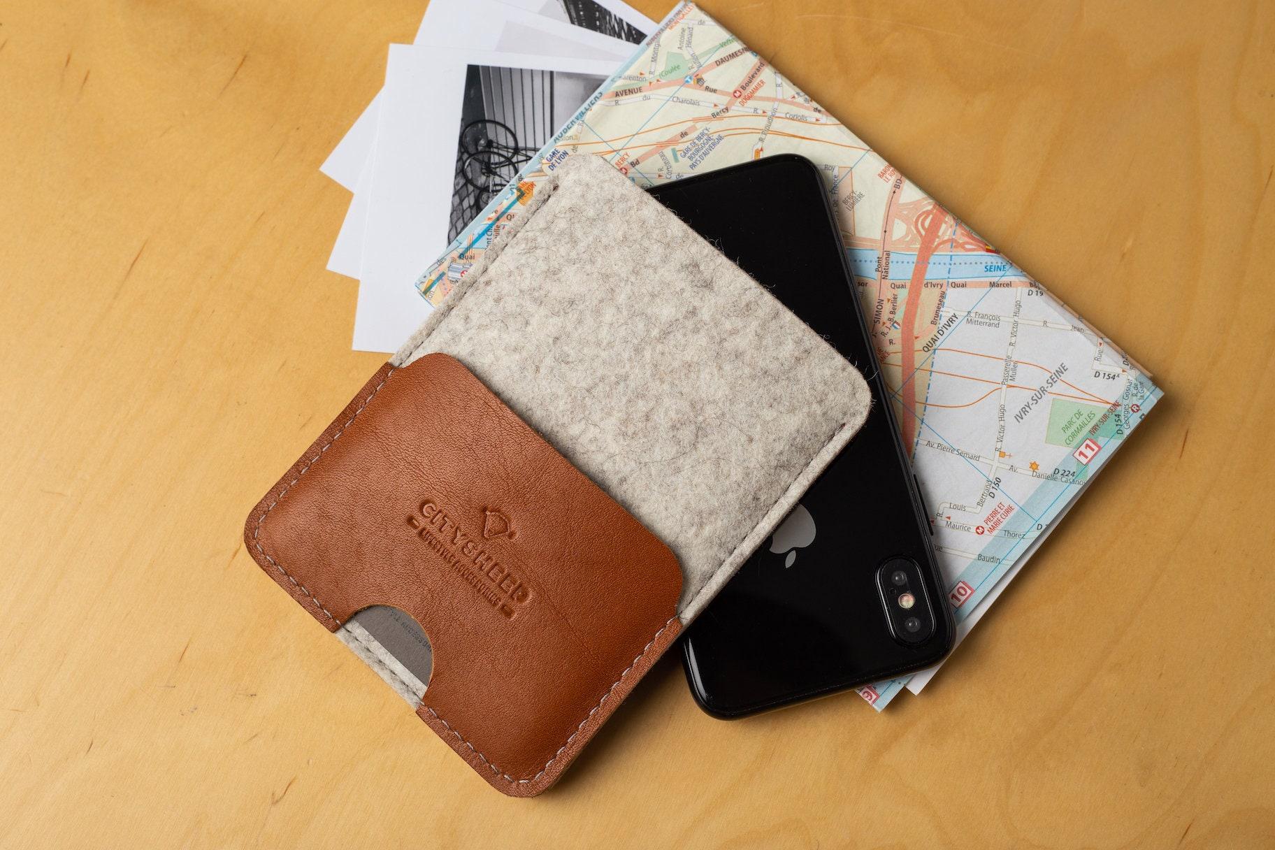 fdac8f4dadce Slim leather passport case, Passport wallet case, Passport leather cover,  Wool felt passport case, Handcrafted passport holder