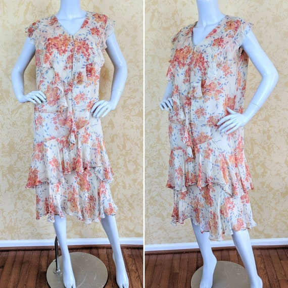 Authentic Volup 1920's Silk Chiffon Floral Print … - image 1