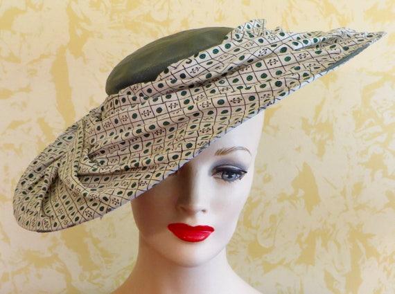 3265e8d03b5 40 s Lilly Dache Green Straw Cartwheel Hat